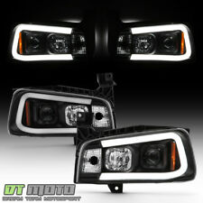 NEW Black 2006-2010 Dodge Charger LED Tube Style Projector Headlights Headlamps