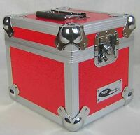 "1 X NEO Aluminum Red Storage for 100 Vinyl Singles Records 7"" DJ carry Case"