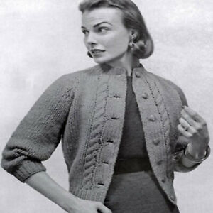 Vintage Knitting patterns Ladies 1950s Super Chunky Cardigan Size 12-16 Womens