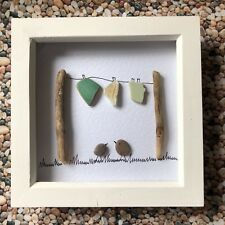 💚 NEW DESIGN, INDIVIDUALLY HANDMADE BEACH PEBBLE PICTURE 'HANGING OUT' 3