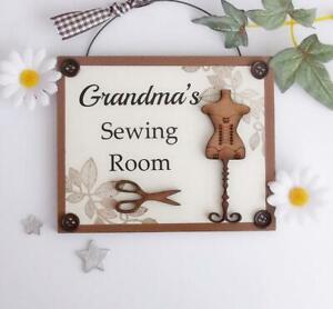 Grandma's Sewing Room Wooden Plaque Door Hanger