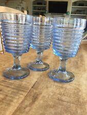 Blue-Ribbed-BEEHIVE Goblets/Glasses SET OF 3 - VINTAGE