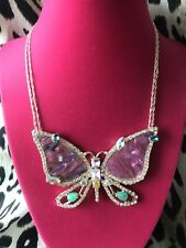 Betsey Johnson Paradise Lost Pink Shell LARGE Butterfly Wing Rose Gold Necklace