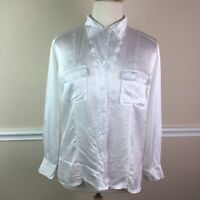 Chicos Design 3 Womens Top White Textured Crinkle Button Up Long Sleeve Size XL