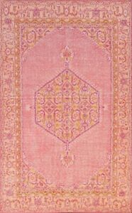 PINK Geometric Oushak Oriental Area Rug Wool Hand-knotted Home Decor 6x9 Carpet