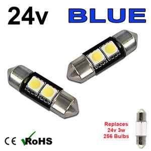 2 x Blue 24v 31mm Festoon Interior Plate Light 256 2 SMD SV7-8 Bulbs HGV Truck