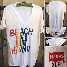 Vintage BEACH IN HAWAII Rainbow Letters V Neck T-Shirt 70s 80s Hanes XL 46 48