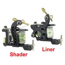 2pcs PRO Black Tattoo Machine Gun Supply Set Dual 10-Wrap Coils - Liner & Shader