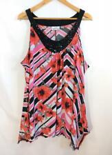 Women's AVENUE Tank SHIRT Size 22 24 Pink Black White Stripes Red Flowers Beads