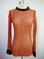 JEAN PAUL GAULTIER JPG MAILLE print nylon mesh long sleeve top black knit trim M