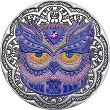 Owl Mandala Collection 2 oz Antique finish Silver Coin 5$ Niue 2020