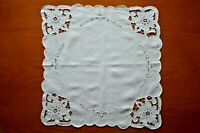 Vintage Hand Embroidered Cut Lace Irish Linen Square Table Centre