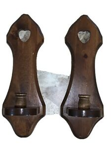 "Vintage Wooden Wall Sconces 15"" With Heart Cut Out 2 Set Pre-owned"