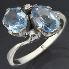 Old Vintage 70s Asymmetric Solid 18k WHITE GOLD 2 AQUAMARINE & DIAMOND RING Sz O