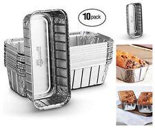 "Aluminum Disposable Loaf Pans Set of 10 Baking Roasting Pans 10.5'' x 5'' x 2.5"""
