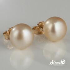 Perlen Ohrringe Ohrstecker Gold 585 Zucht  AA++ 9-10 mm14K ygf Süsswasser Creme