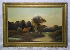 Antique 19th Century Barbizon School Oil Painting of House and Sheep 23.5x15.5