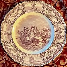 Crown Ducal Colonial Times Salad Plate Landing of Pilgrims Mulberry Scalloped