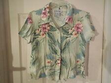 California Kruch Soft Green Print Camp/Ahola Shirt Hawaiian Style Size Small