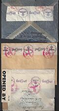 GERMANY US 1930's THREE NAZI CENSORED COVERS DIFFERENT LABELS TO US ONE DOUBLE