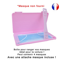 Boîte de rangement rose et attache rose pour masque