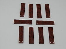 Lego Lot of 10 Reddish Brown Tile 1 x 4 with Wood Grain and 4 Nails Pattern