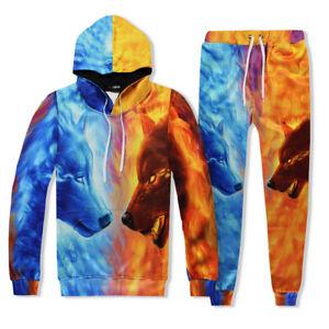 Mens Jogger Tracksuit 2 Piece Casual Pants Hoodie Sweatsuit Sweatshirt Sport Set