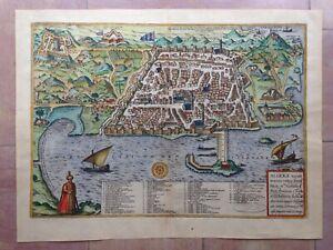 ALGIERS (ALGERIA) 1572 BRAUN HOGENBERG 16e CENTURY LARGE NICE ENGRAVED VIEW