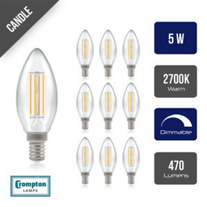 Pack of 10 Crompton LED Dimmable Filament Candle Light Bulb Clear 5W E14 SES 270