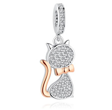 Lovely Cat Shape Charm Pendant Sterling Silver Authentic Jewelry Making Beads