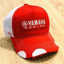 YAMAHA FACTORY RACING HAT CAP BMX BIKE SNAP BAK RED DISTRESSED MX YZF YFZ RI R6