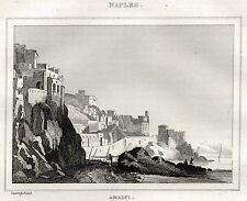AMALFI. Golfo di Salerno. Regno delle Due Sicilie. ACCIAIO. Stampa Antica. 1838