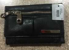 Kenneth Cole REACTION Wallet Black BiFold Zip Flap Indexer Clutch Faux Leather