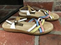 SAS Colorful Leather Strappy Sandals Womens Comfort Cushion Size 7.5