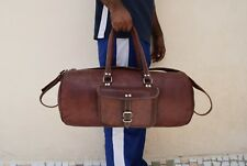 "Mens 22"" Vintage Leather Duffle Bag Gym Sports Yoga Travel Luggage Handbag"