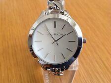 Michael Kors Ladies Slim Runway White Dial Chain Bracelet Watch MK3279