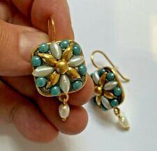 Michal Golan 24K Gold Freshwater Pearl Blue Dangle Earrings Vintage look