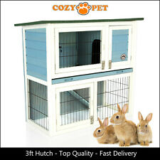 Rabbit Hutch 3ft by Cozy Pet Blue Guinea Pig Hutches Run Rabbit Ferret Runs RH03