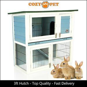 Rabbit Hutch 3ft by Cozy Pet Blue Guinea Pig Hutches Run Rabbit Ferret Runs RH03