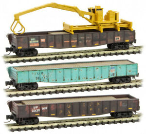Micro-Trains MTL Z-Scale Union Pacific/UP Tie Loader Gondolas (Weathered) 3-Pack