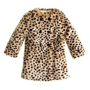 Crewcuts Jcrew Girls Faux Fur Coat Size 8 Animal Print