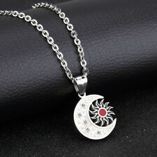 Enamel Sun and Moon CZ Silver Surgical Stainless Steel Gift Pendant Necklace