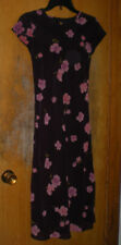 Plum Dark Purple Short Sleeve Dress with Pink Flowers Size 10 Fully Lined