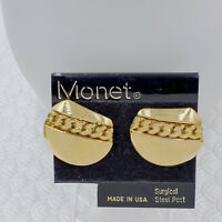 LG USA Made Monet Pierced Earrings NWT Vintage Gold Tone Plated Link Chain Motif