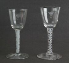 Pair of engraved opaque twist stem wine glasses c1770. Possible Jacobite link.