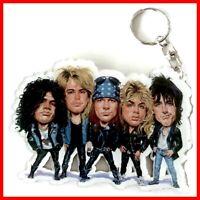 GUNS N ROSES PORTE CLE ! SLASH AXL Hard Rock Metal Caricature Guitare Keychain