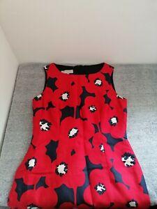 Hobbs Red Poppy Pencil Dress Size 10 UK