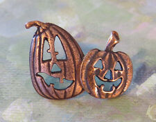 Jack-O-Lanterns Brooch Copper Halloweens Jack-o-lantern
