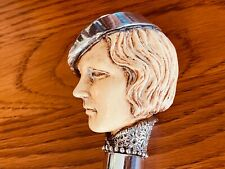 European Art Deco Masterpiece, .925 Silver Mounted Lady With High Collar & Hat.