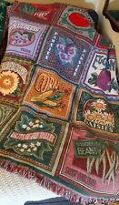 "Vintage Goodwin Weavers Fringed THROW AFGHAN BLANKET ""Summer Garden""  NICE!"